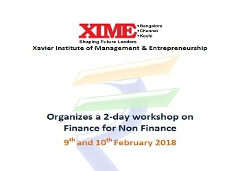 2-day workshop on Finance for Non Finance 9th and 10th February 2018 xime Bangalore campus